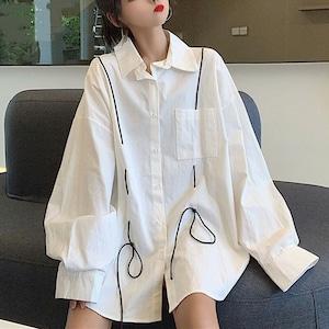 【トップス】カジュアル長袖シングルブレストPOLOネックシャツ43011103