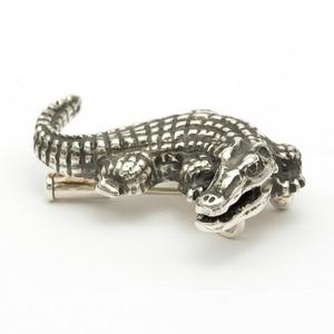 ワニブローチ『クロコダイル』純銀 (Ag999)×ブラックダイヤ