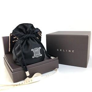 CELINE セリーヌ ストーン トリオンフ ビジュー 巾着 ハンカチ ギフト ミニバッグ ポーチ ブラック vintage ヴィンテージ オールドセリーヌ nndj8d