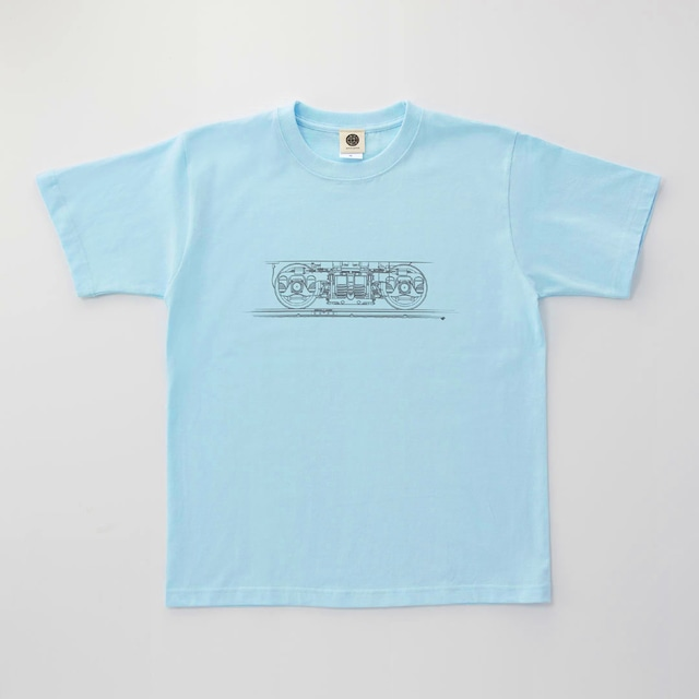 鉄道Tシャツ|台車 ( Light Blue × Dark Gray)