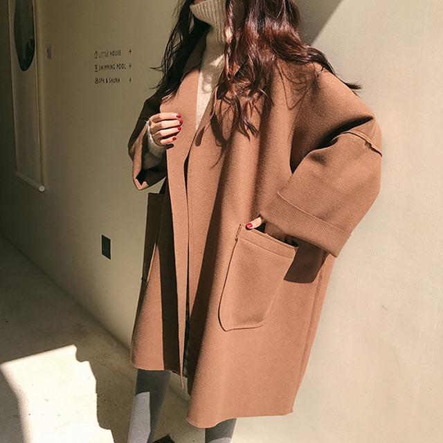 【アウター】ファッション無地長袖切り替えロングカーディガンコート43008285