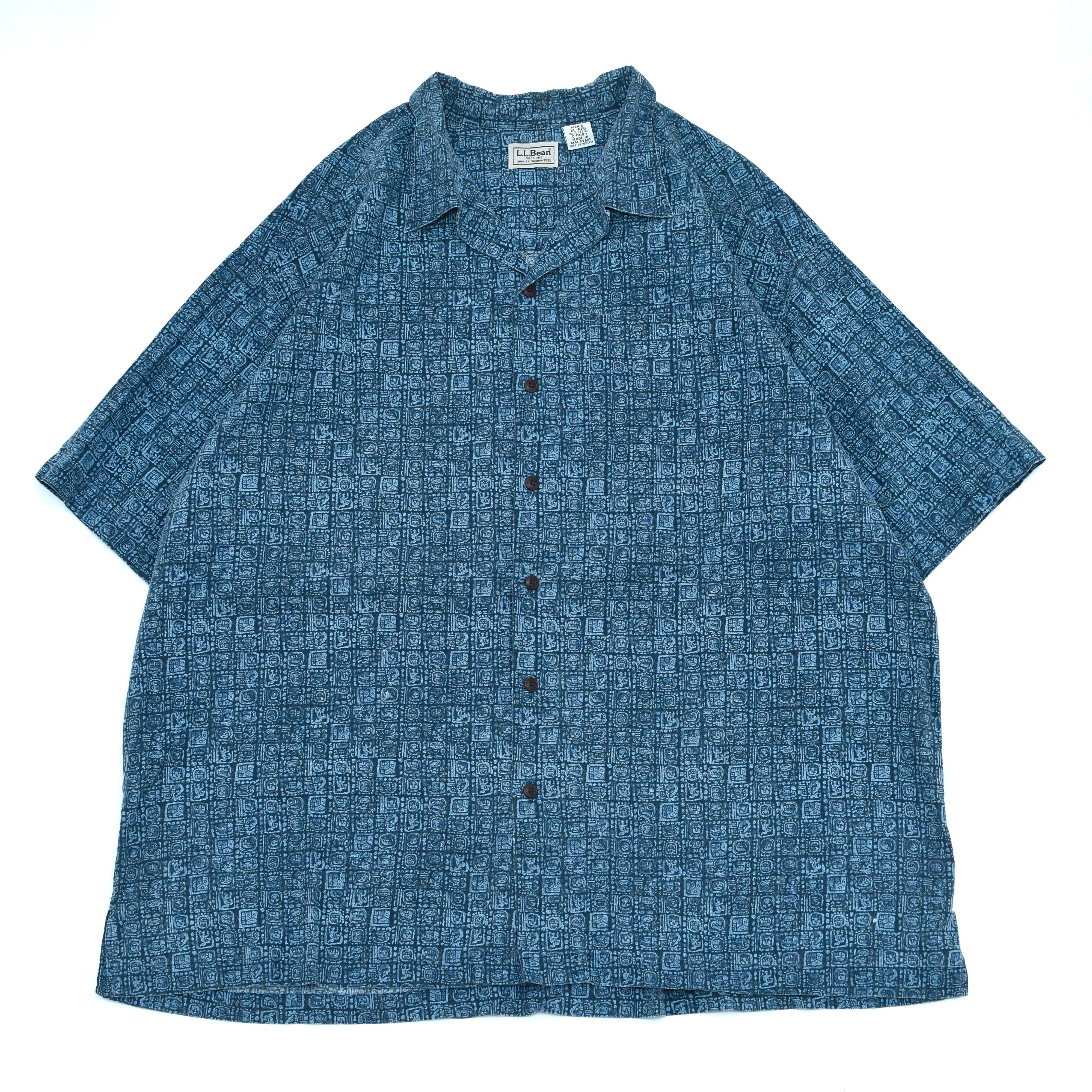 L.L.Bean Ethnic pattern opencollar shirt