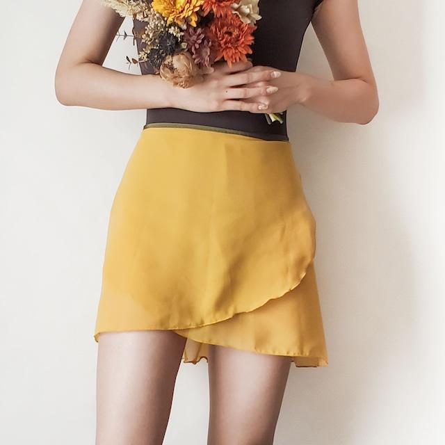 NORMAL wrap skirt【マスタード×ディープグリーン】