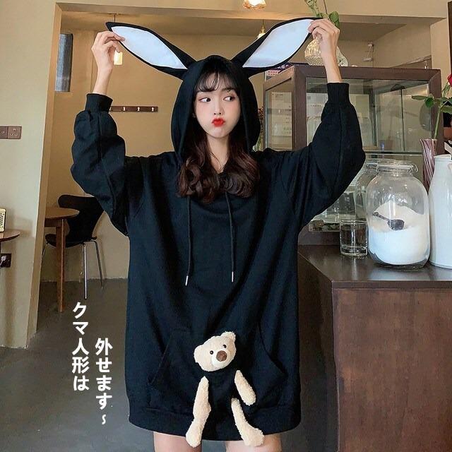 【トップス】キュート萌え萌えウサギミミ可愛い系ファッションパーカー33929591