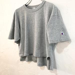 【USED】80's Champion ショート丈 霜降り 半袖 Tシャツ