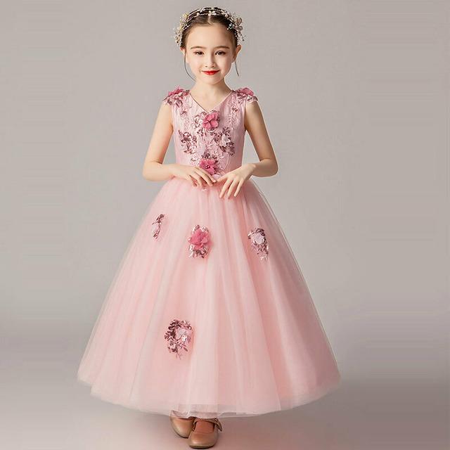 子どもドレス キッズドレス ロングドレス Vネック 立体花 フォーマル用 ピアノ発表会 結婚式 花童 卒業式 子供服 女の子 ワンピース ピンク