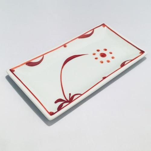 【砥部焼/梅山窯】6.7寸長角布目皿(赤太陽)