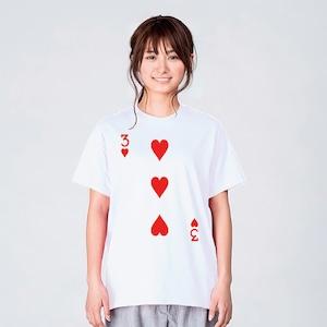 トランプ ハート Tシャツ メンズ レディース 半袖 シンプル ゆっ たり おしゃれ トップス 白 30代 40代 プレゼント 大きいサイズ 綿100% 160 S M L XL