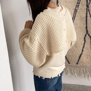 Damage design two pieces knit (ダメージデザインツーピースニット)b-006