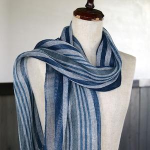 藍染め手織りリネンストール(tl80)