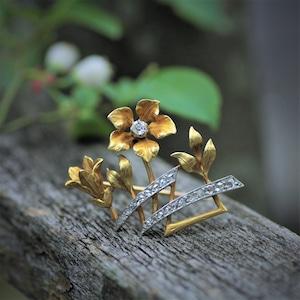 Diamond & Gold Flower Brooch   ダイヤモンド & ゴールド フラワーブローチ