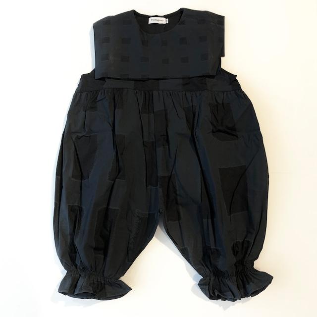 【21SS】フランキーグロウ ( frankygrow ) ORIG CHECK MIX SAILORCOLLAR OVERALL[ S / M / L ]black-black オーバーオール サロペット オールインワン