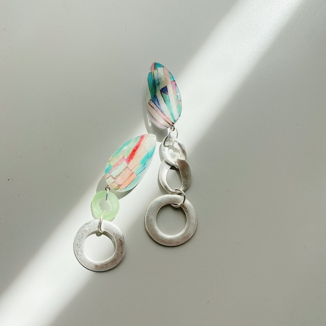 """ Earrings NO.danoan-147″ リバティとシルバーチェーン"