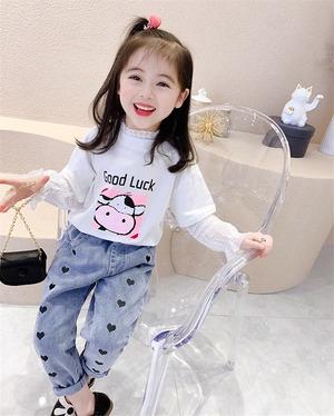 ハートデニムパンツ・韓国子供服・