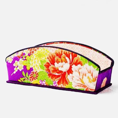 和風眼鏡ケース 眼鏡スタンド インテリア雑貨 アンティーク着物・古布リメイク 紫・牡丹・菊花尽くし紋様