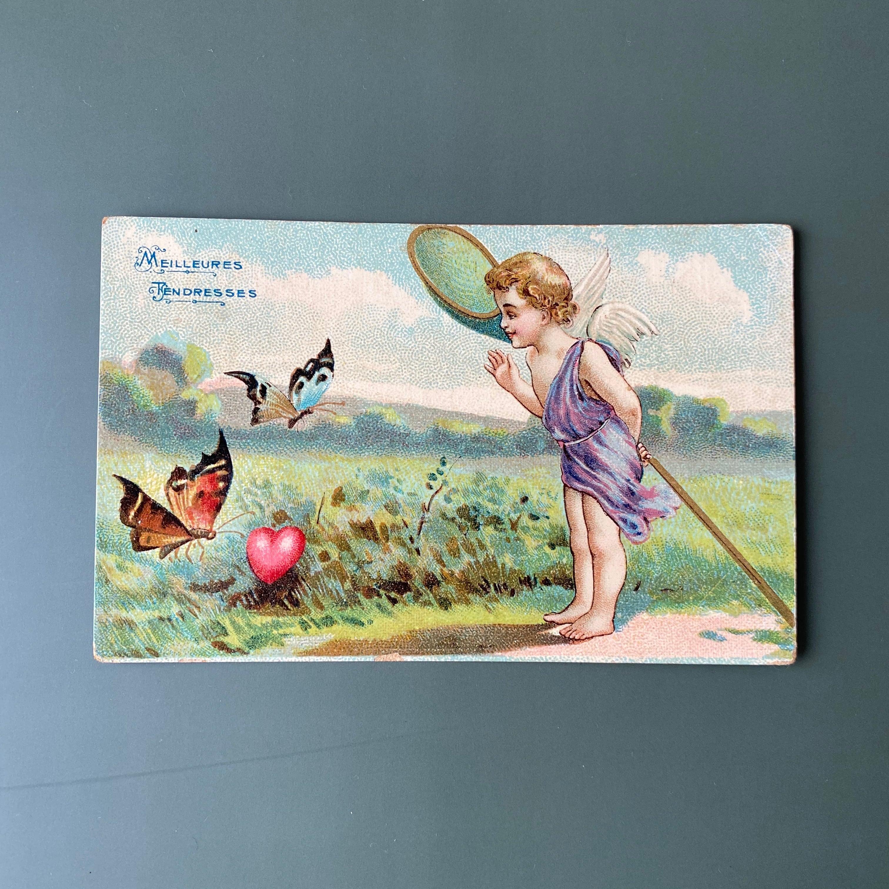 アンティーク 天使のポストカード a  /  vp0198