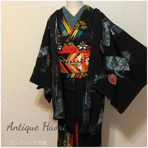 ★ アンティーク 羽織 ポピー 菊 黒色 ★ 縁ちゃぶ 2863