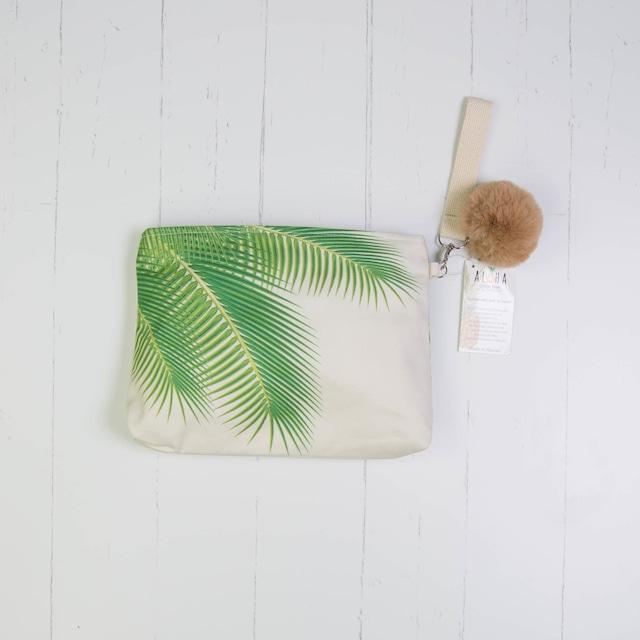 クラッチバッグ (防水裏地付き)  Green Palm Leaves