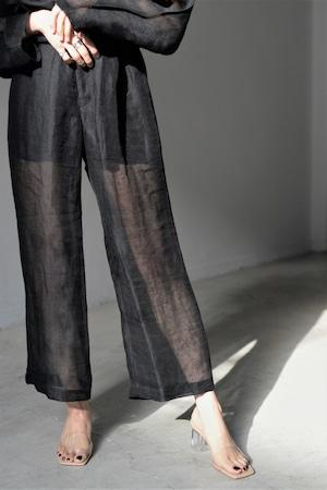 ERiKOKATORi / Linen Gwaze See Through pants (black)