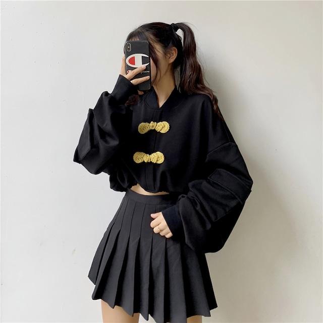 チャイナ風トップス シャツ パーカー 中華服 民族風 長袖 ショート丈 可愛い ブラック 黒い