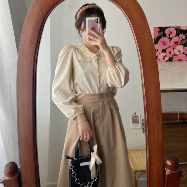 レトロガーリー♡スカラップレースブラウス+ミドル丈スカート A1002