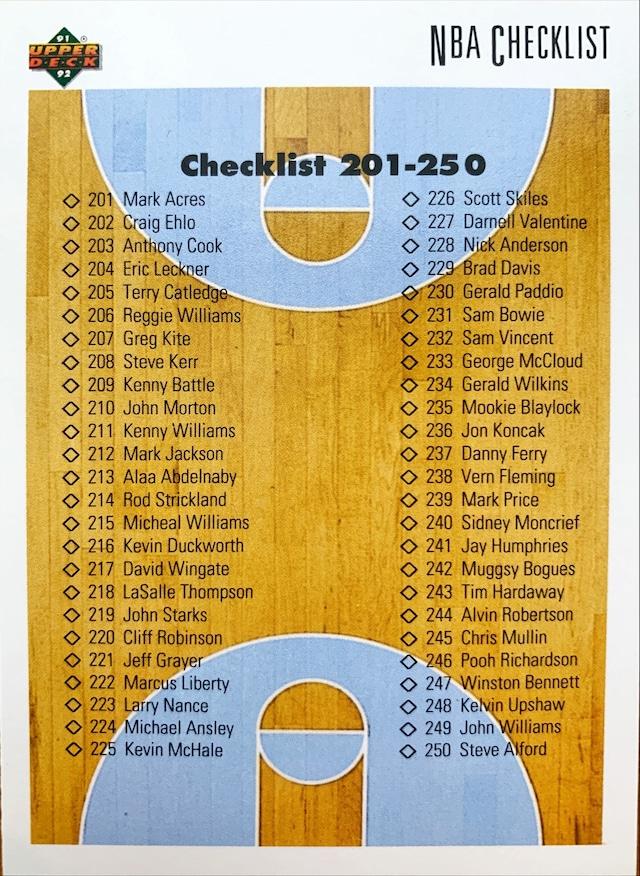 NBAカード 91-92UPPERDECK CHECKLIST #300 201-300