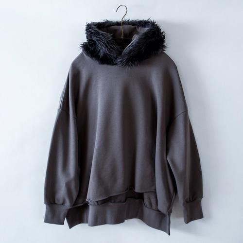 《michirico 2021AW》Fur hoodie / dark gray / F(大人)