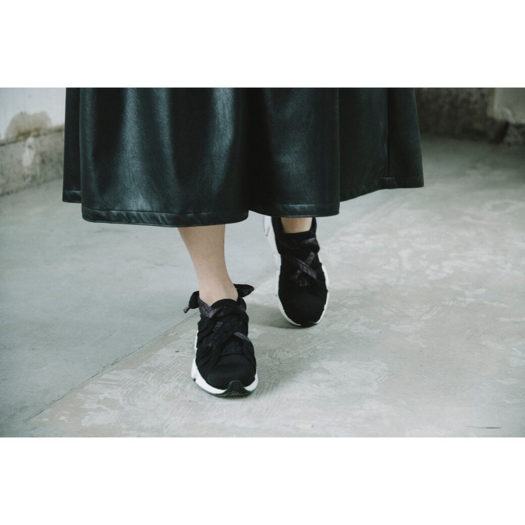 【RehersalL】 pajamas patch ribbon sneakers (midnight)/【リハーズオール】パジャマパッチリボンスニーカー(ミッドナイト)