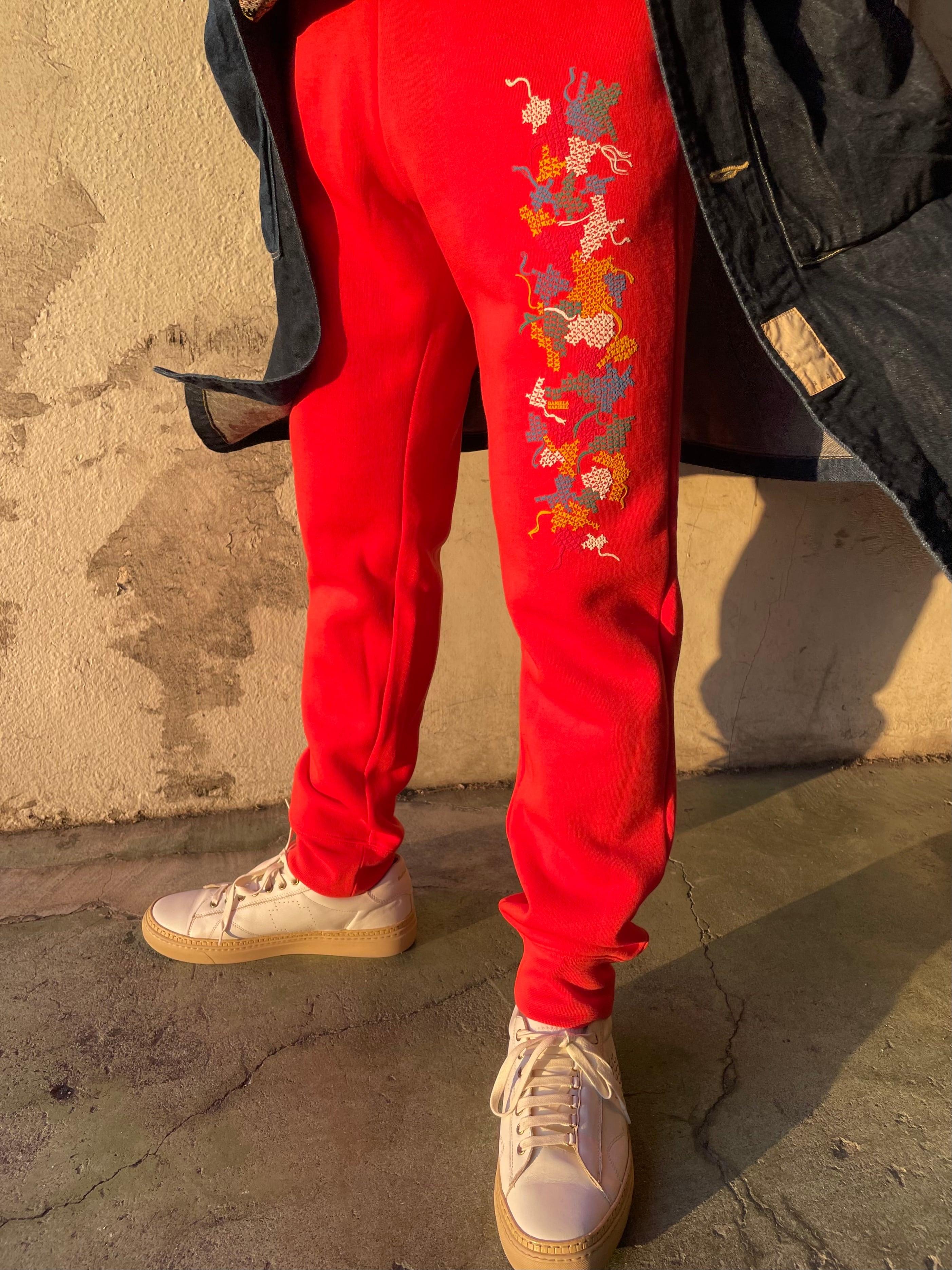 Cross-stitch Print sweat pants 2021