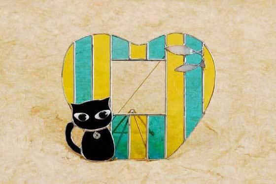 黒ネコ(ステンドグラスのフォトスタンド) 02010014