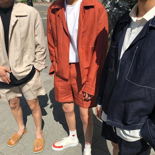 シャツジャケット+ハーフパンツ セットアップ BL5901