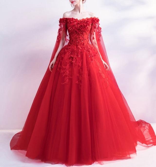 オフショルダーフラワーロングドレス