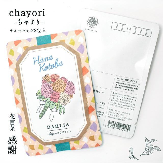 ダリア|chayori 花言葉シリーズ|ほうじ茶ティーバッグ2包入|お茶入りポストカード
