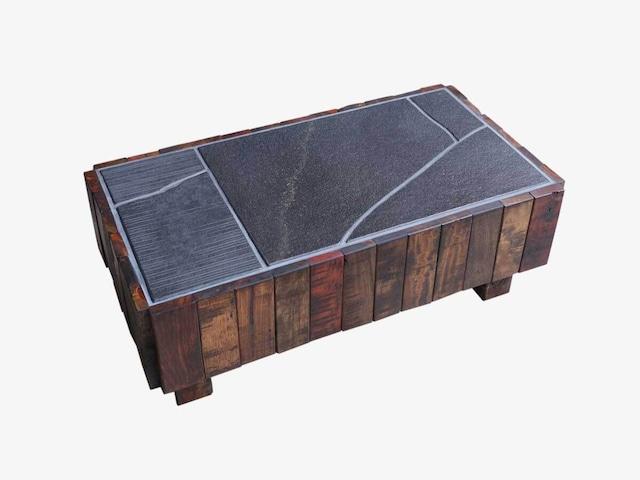 解体材と継石のローテーブル ストレイン002 一点物