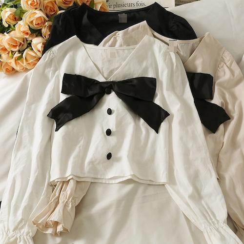 2色/ギャザー袖ビッグリボンシャツ ・19021