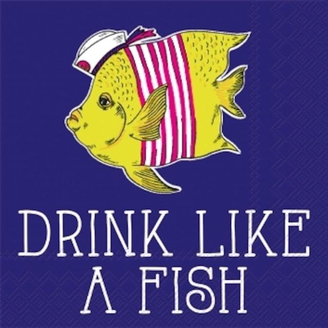 【IHR】バラ売り2枚 カクテルサイズ ペーパーナプキン DRINK LIKE A FISH ネイビー