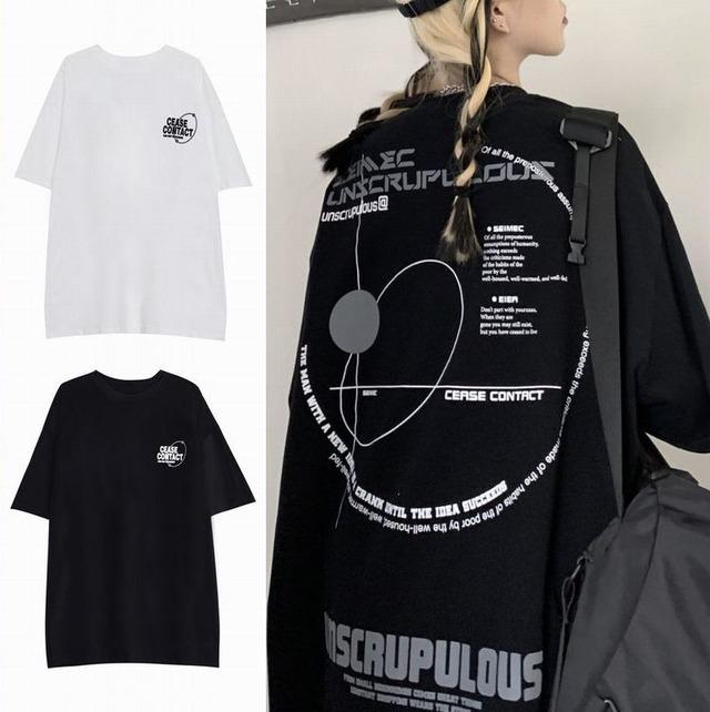 ユニセックス Tシャツ 半袖 ラウンドネック オーバーサイズ 韓国ファッション メンズ レディース トップス 大きめ カジュアル ストリートファッション TBN-638006904577