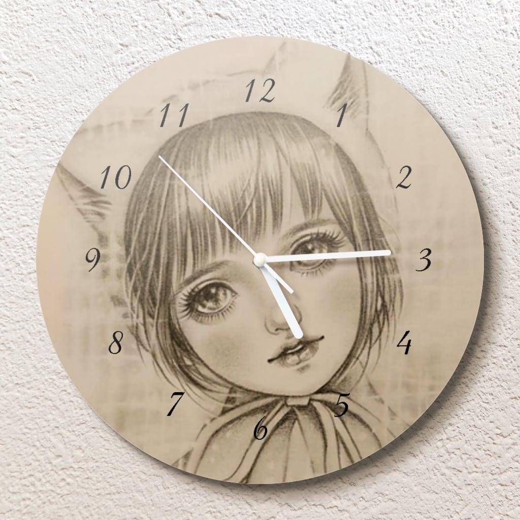 猫耳お帽子ちゃん壁掛け時計(L)