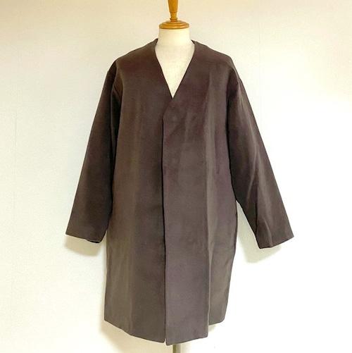 Wool Mosser Loose No Collar Coat GrayBrown