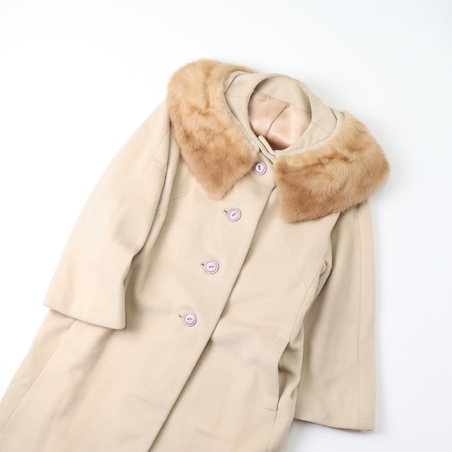 60年代 アメリカ製 ヴィンテージ 古着 カシミヤ リアルファー コート