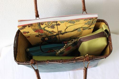 おみくじ入り和紙緑色花かごバッグMサイズ