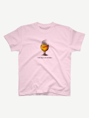 【ビールの中でしか・・・ウミガメ】Tシャツ(ライトピンク)