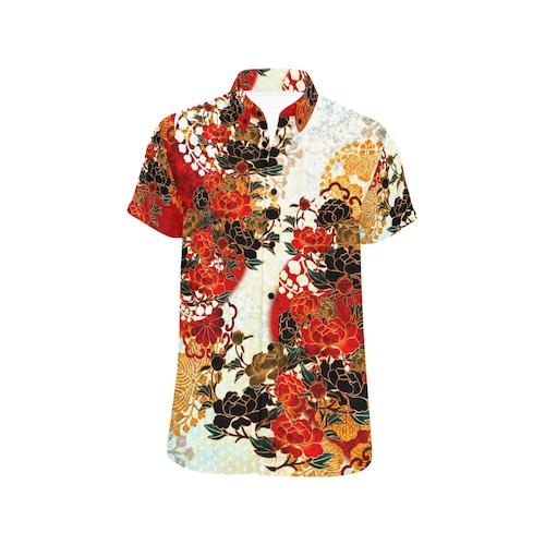 牡丹家紋 紅白 ユニセックス半袖シャツ