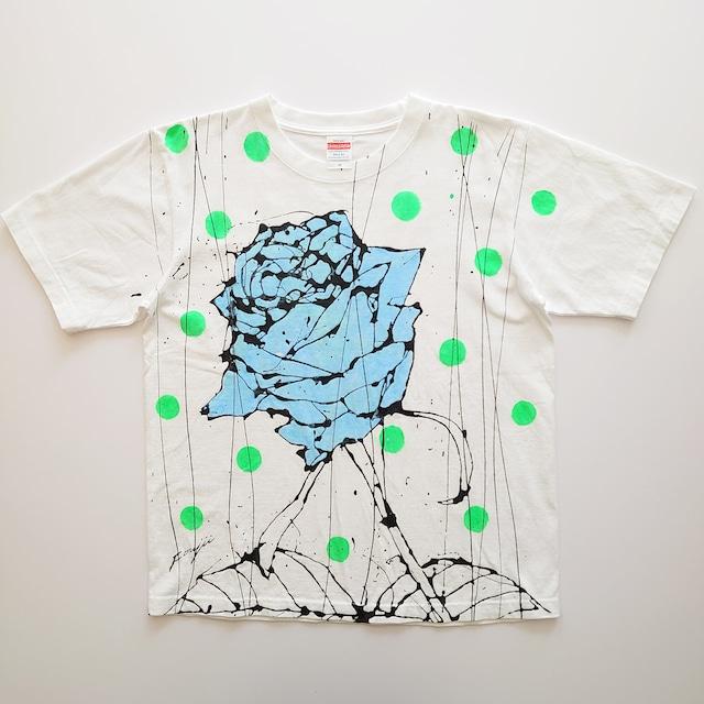 F's rose【 藤井清秀  Tシャツアート】ライトブルー薔薇 グリーンドット M