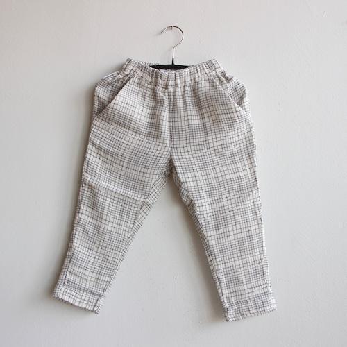 《MINGO. 2021SS》Tapered Trouser / Block pattern White × Blue
