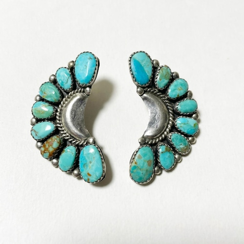 Vintage Naive American Cluster Turquoise Sterling Pirced Earrings