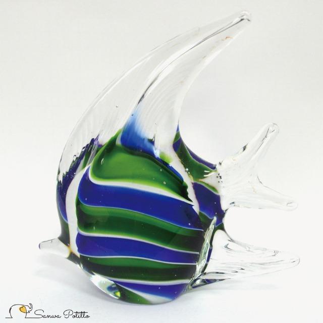 ガラスのオブジェ エンゼルフィッシュ B 熱帯魚 083-421 高さ15.5cm インテリア おしゃれ きれい 上品 プレゼント ギフト