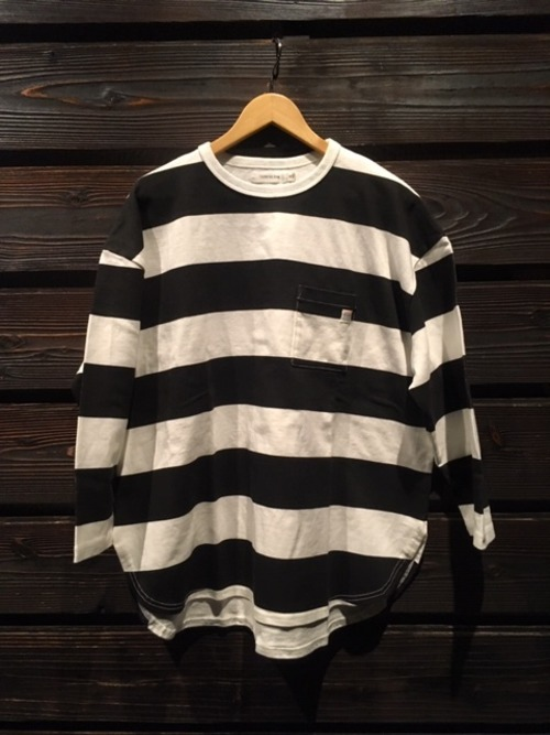 Turn Me On  9分袖プリントボーダー PKT C&S White/Black  Mサイズ 120-413