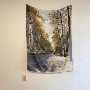 paris street chiffon fabric poster / パリ ストリート シフォン ファブリックポスター フランス 道 韓国雑貨