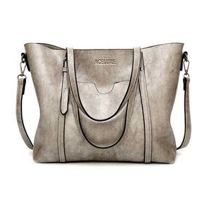 PUレザーハンドバッグ 財布付きポケット Light gray